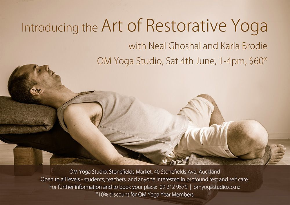 The Art Of Restorative Yoga Poster 3 hour workshop