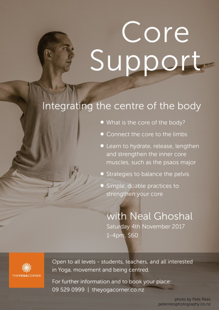 Core Support Workshop 3 hours, The Yoga Corner Nov 2017
