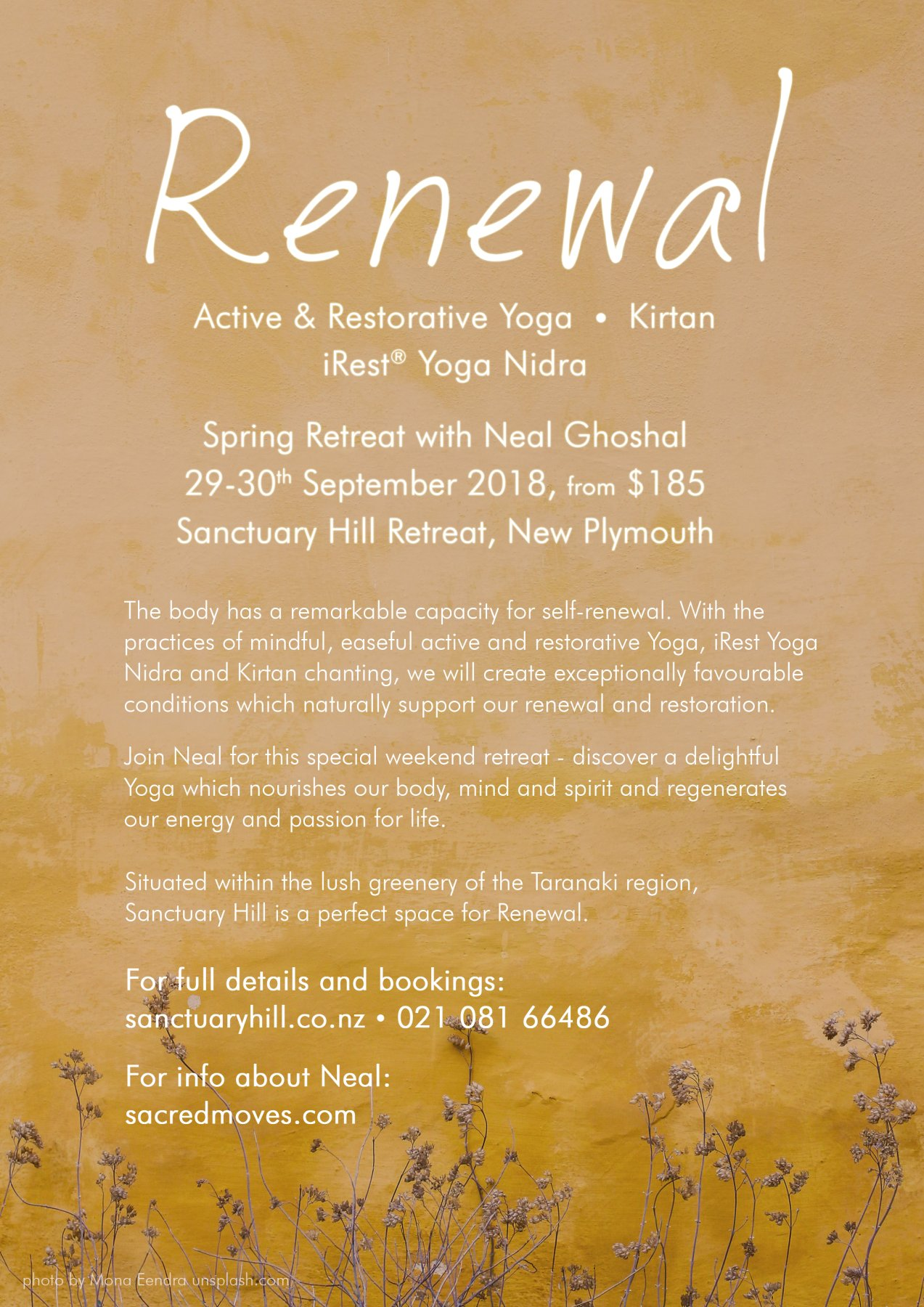 Renewal, Spring Yoga Retreat at Sanctuary Hill Retreat, New Plymouth